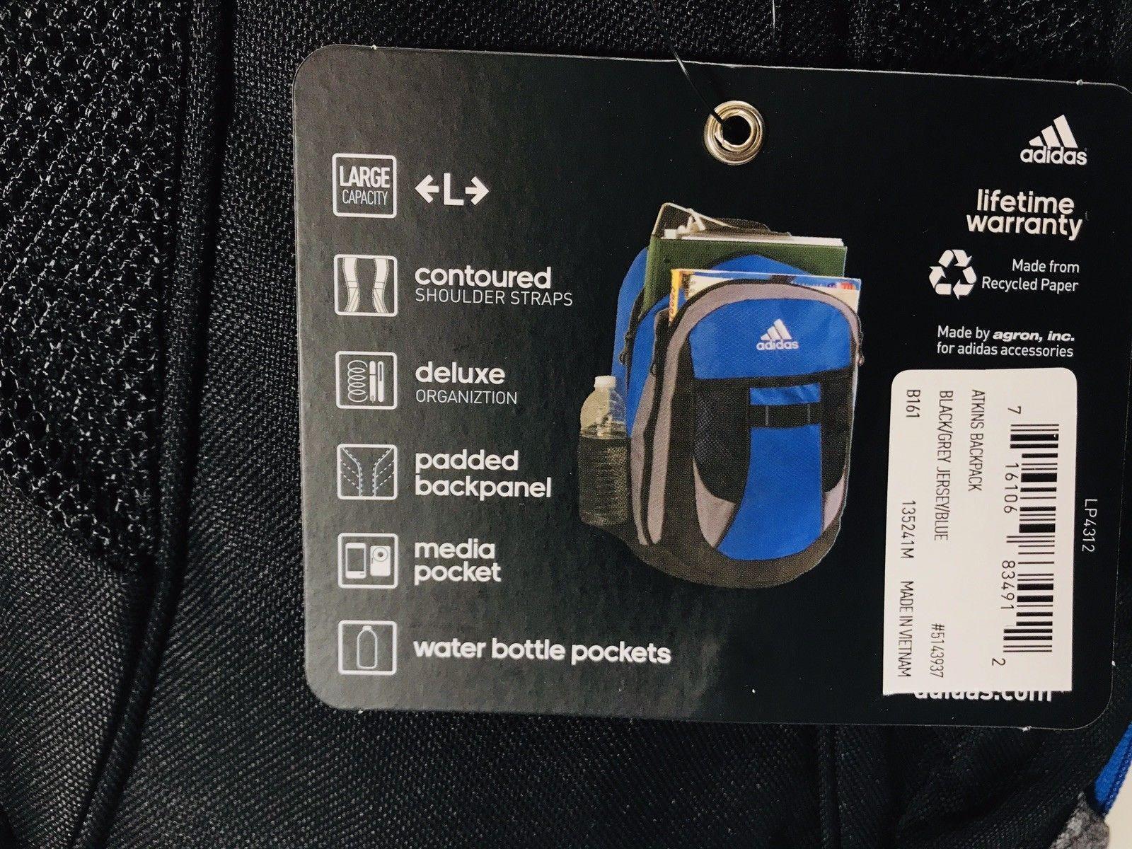 *New* Adidas Atkins Large Capacity Backpack Black/Blue/Grey Unisex