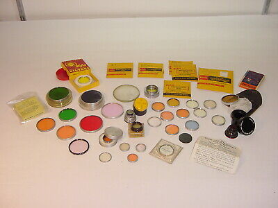 Vintage Kodak Color Series Drop-In Filters Mounts Gelatins Lens Lot 41 w/cases