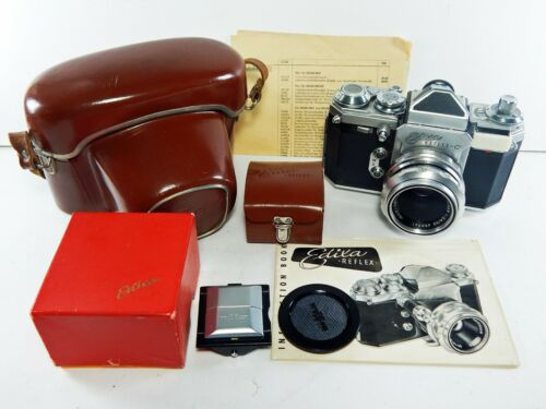 Wirgin Edixa Reflex-C 35mm SLR Film Camera w/2 Prisms, Case, Manual & More