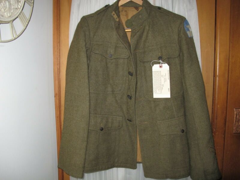 WW1 US Army Wool Service Coat 1907 North Russia Polar Bear Patch Overseas Honora
