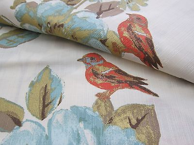 "ENVOGUE Floral Bird Window Curtain Panels Set of 2 Drapes Pair 96"" Teal Gold NEW"