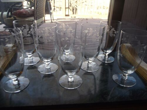 """(8) Iced Tea Goblets Glasses 6"""" PRINCESS HOUSE Crystal Heritage etch cut #425"""