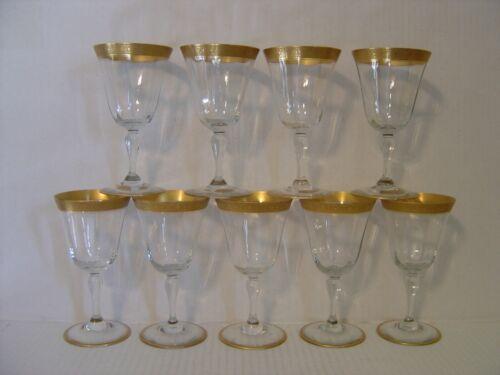 """VINTAGE SET OF NINE TIFFIN GOLD ENCRUSTED PANELED WINE GLASSES 6"""" HIGH"""