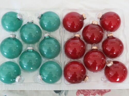 2 Boxes Krebs Glass Christmas Ornaments. Agate Green & Ribbon Red. Balls.