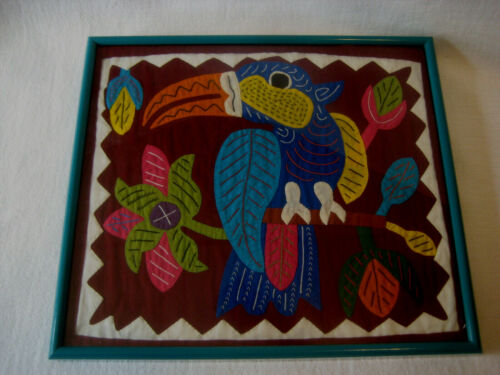 Toucan vtg wall hanging picture fabric applique colorful ethnic textile frame