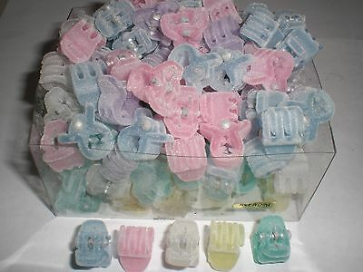 (Mini Cute Felt Pastel Plastic Hair Snap Claw Styling Clip Lot of 144 Clips NEW)