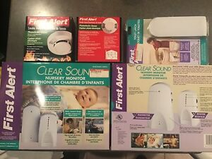FIRST ALERT..2 Smoke alarms/2 Nursery Monitors/1Toilet latch
