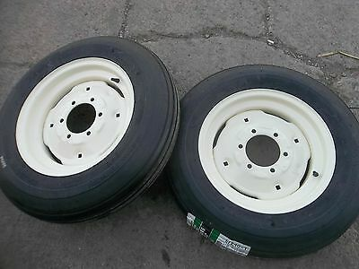 Two 600x16600-166.00-16 Six Ply Rib Implement Tractor Tires Wrims
