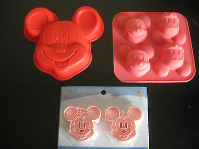 MICKEY MOUSE BIRTHDAY MINI CAKE PAN COOKIE CUTTER CHOCOLATE CANDY MOLD SET OF 3 - Mickey Mouse Birthday Cake Pan