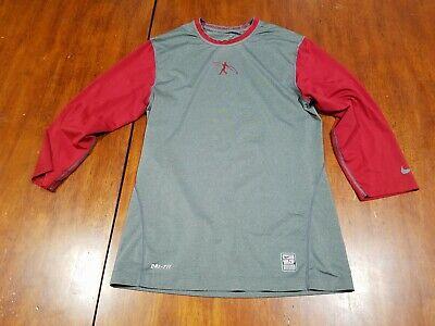Nike Mens Athletic Cut Swingman Legend ¾ Sleeve Baseball Shirt White Black