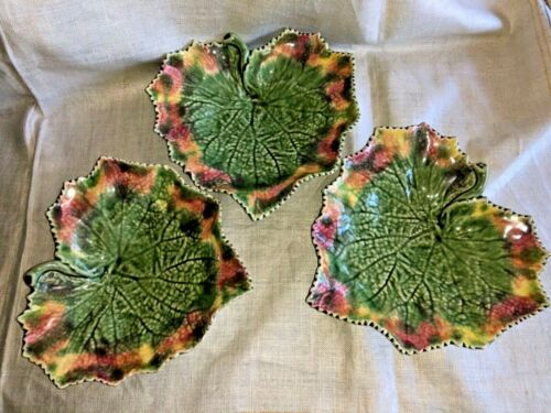 Set 3 Bordallo Pinheiro MAJOLICA Embossed Grape Leaf Plate Dish Footed Portugal