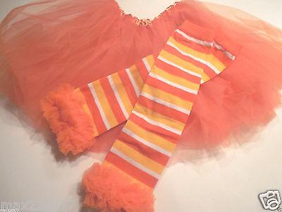 Halloween Leg Warmers Toddler ( New fall Halloween orange outfit tutu & leg warmers  baby toddler 2-6)