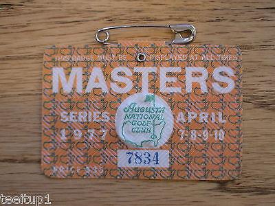 1977 MASTERS GOLF AUGUSTA NATIONAL BADGE TICKET TOM WATSON 1st WIN VERY RARE PGA