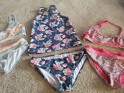 2 Abercrombie Kids Girls Bikini Swimsuit Sz 11/12 Green Peach Tankini 9/10 Pink