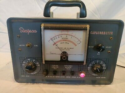 Simpson Capachometer Capacitor Checkertester Pulse Tester. Leakage Tester Works