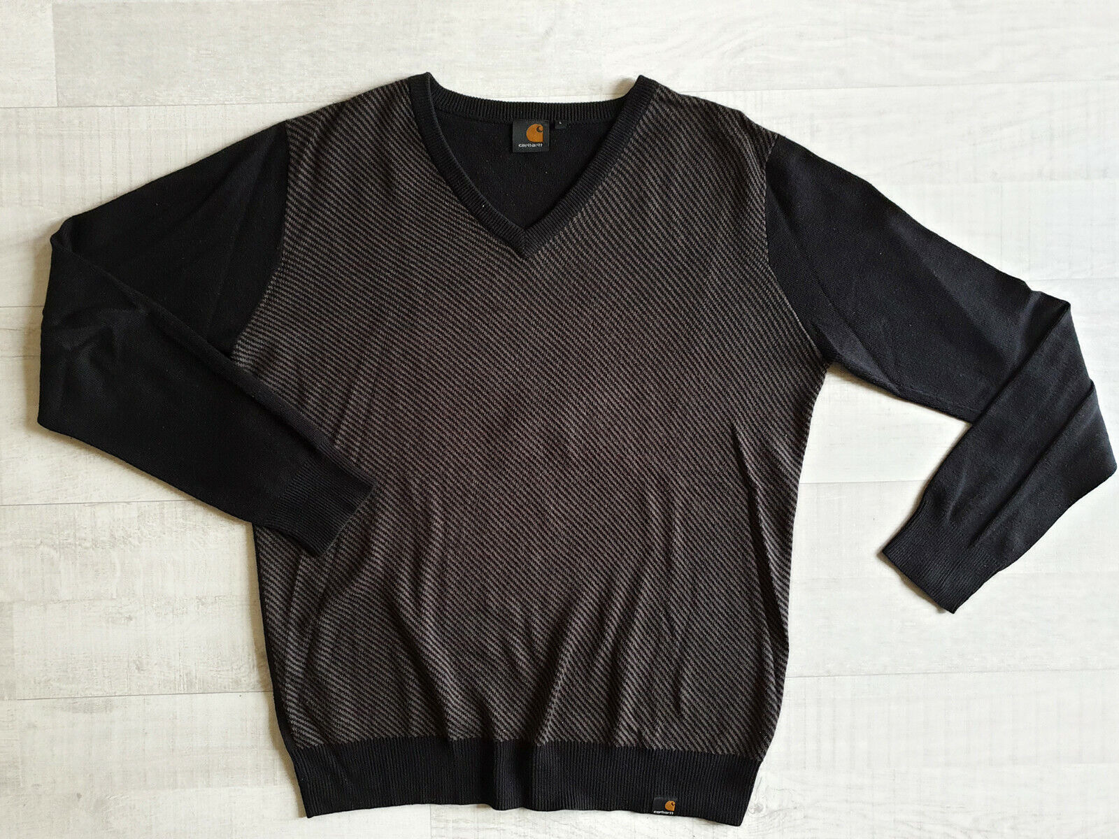 Pull carhartt taille l pour homme, pull col v rayures gris et noir