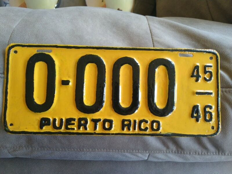 PUERTO RICO Vintage Extremely Rare  SAMPLE LICENSE PLATE 1945-46 0-000 Original!