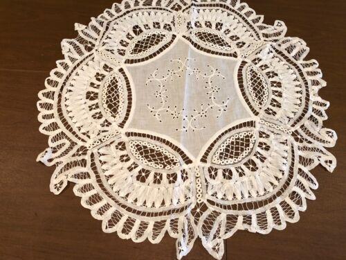Antique Victorian Linen Battenburg Drawn Work Lace Tatting Table Doily Runner