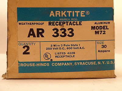 2 Nos Crouse-hinds Arktite Ar 333 Sleeve Pin Receptacle 30a Amps 250vdc-600vac