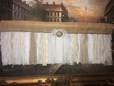 "40"" Burlap Lace Valance Shabby Hut Chic Farmhouse Rustic Burlap Window"