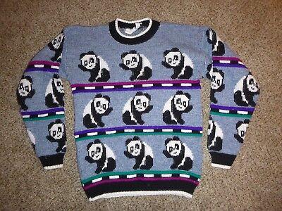 Vtg Brisbane Express Fairy Kei Panda Sweater Girl's M (10-12) Women's XXS