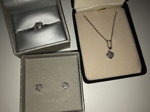 Set of heart jewelry. Ring, necklace, earrings. NEVER WORN