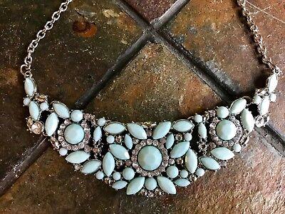 - Silver Tone Statement Bib Necklace Tiffany Blue Stones & Rhinestones Chunky