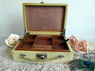 Beautiful Art Deco Suitcase Style Jewellery Box With Lift Out Compartment
