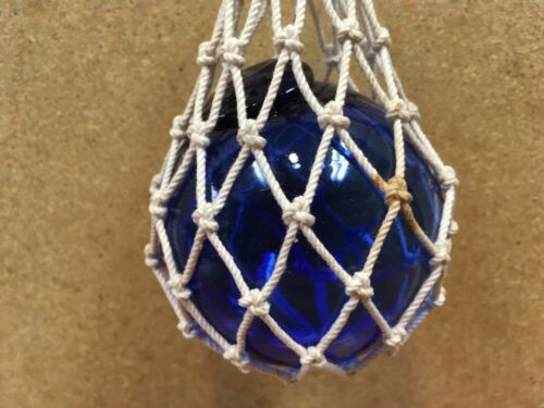 VINTAGE COBALT BLUE JAPANESE HAND BLOWN FLOAT BALL INTRICATELY KNOTTED NET