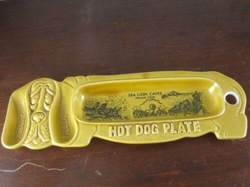 Vintage pottery Hot Dog Plate