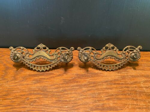 Vintage Antique Ornate Brass Metal Dresser Drawer Pulls Handles Lot of 2
