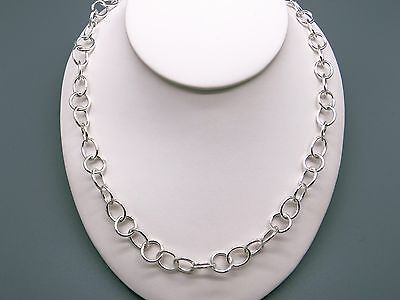 Handmade Sterling Silver Round Circle Disk Link Chain Adjustable Necklace 17""