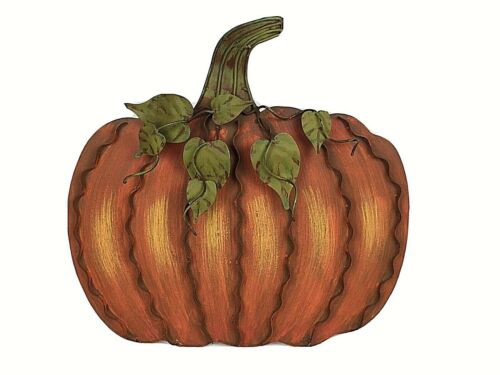 Large Metal Pumpkin Decor Jack O Lantern Fall Halloween Orange Green Thanksgivin