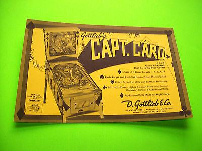 Gottlieb CAPT CARD Original 1974 NOS Pinball Machine Promo Postcard Flyer Adv.