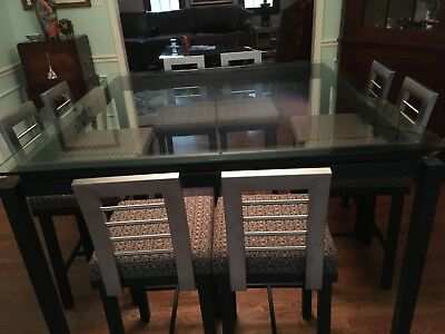 Dining 9 Piece Counter Height Set by Amisco in Silver and Black Metal