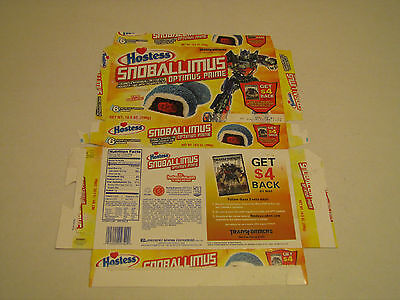Hostess  Interstate Brands  Snoballs Snoballimus Optimus Prime Transformers Box
