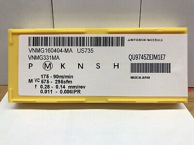 10 Pcs Mitsubishi Carbide Inserts Vnmg 331 Ma Vnmg 160404 Ma Grade Us735