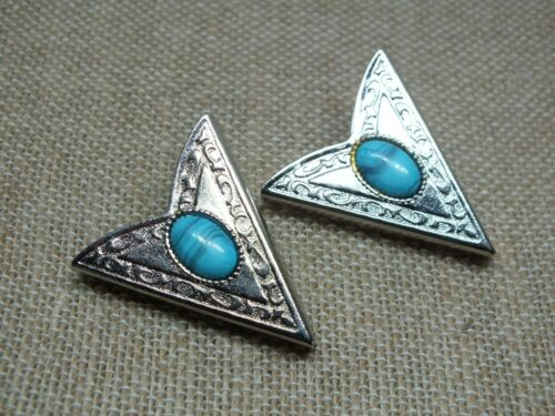 Beautiful Collectible Collar Tip Clip Set 2 Silver Tone Turquoise Cabochon 1 1/2