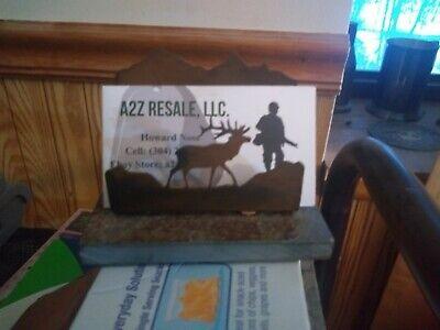 Repurposed Rock And Metal Elk Desktop Business Card Holder 21-192