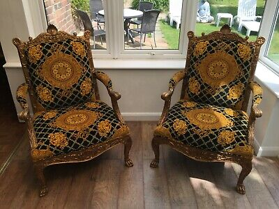 Pair of Large Gold Wood Regal Carver Chairs - Luxury Throne Style