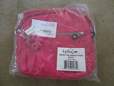KIPLING KEEFE Crossbody Handbag Organizer HB6467 688 Vibrant Pink NWT authentic