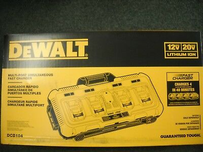 DEWALT DCB104 12V/20V 4 Port Multiport Simultaneous Fast Charger New