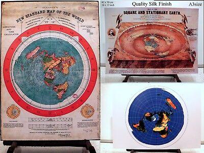 3 Flat Earth Prints - GLEASON'S WORLD MAP + SQUARE & STATIONARY EARTH + AZIMUTH