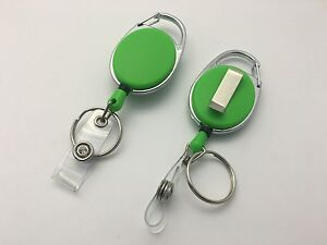 Green Solid Key Reel with Keyring & ID Card Badge Holder-Ring Retractable Colour