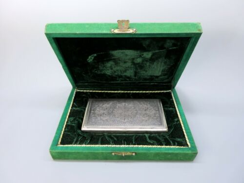 Antique Persian silver engraved cigar box original fitted presentation case box