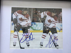 Sidney Crosby and Jonathan Toews autographed team Canada 8x10