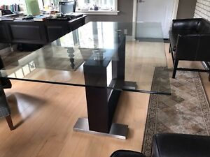 Glass dining room table with Cherrywood base