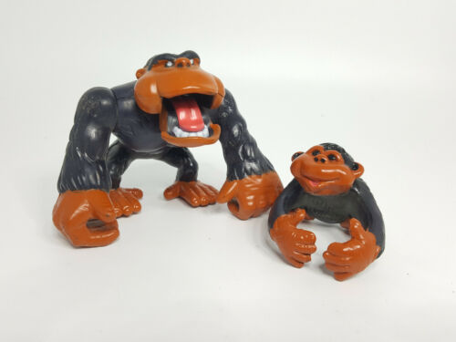 VTG 1995 Lot (2) Fisher Price Animal Families Ape Gorilla Father & Baby Figures