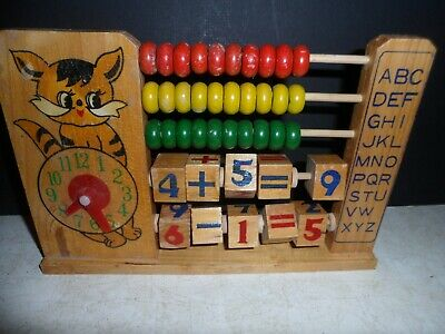 CAT'S CLOCK + ABC'S & ABACUS FOR SMALL CHILDREN VINTAGE w WOODEN BEADS