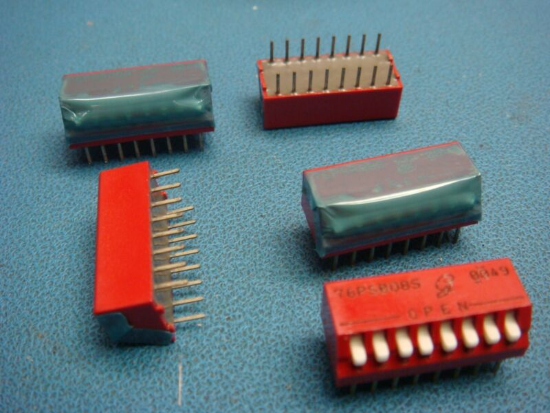 (5) 76PSB08S GRAYHILL 8 POSITION DIP SWITCH SWITCHES ON OFF SPST PIANO LEADED